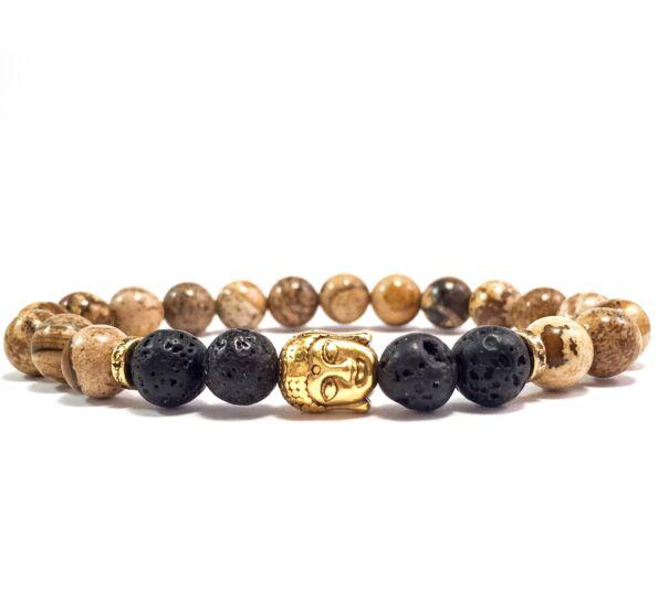 Jaspis and lava gold buddha bracelet