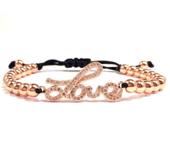 Luxury rozé love feliratos cord karkötő