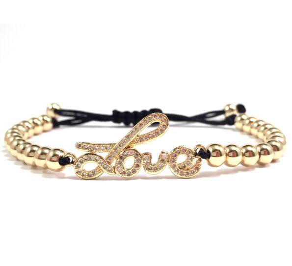 Luxury arany love feliratos cord karkötő