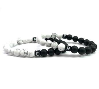 Evene, letter matt onyx and howlite bracelet
