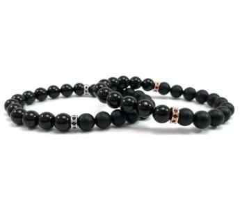 Even matt onyx and onyx half  bracelet
