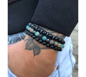 Blue zebra jasper and matte onyx bracelet