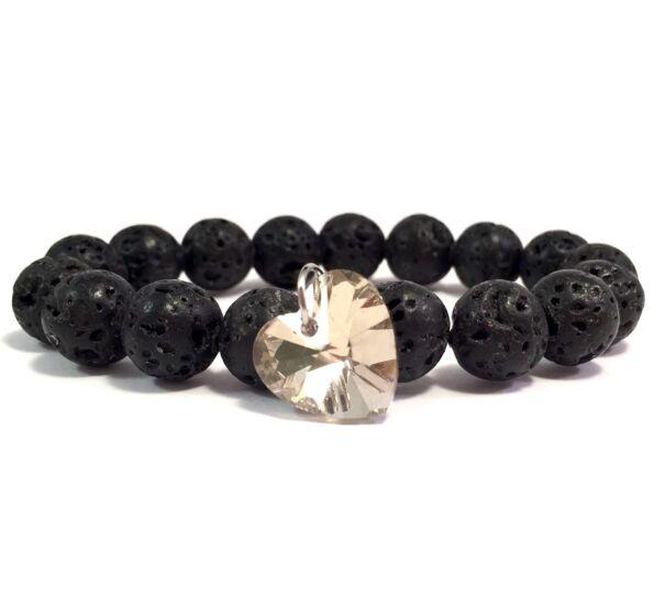 Lava grey diamond heart bracelet