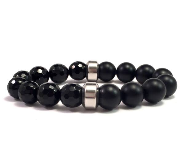 Faceted onyx and matte onyx half bracelet