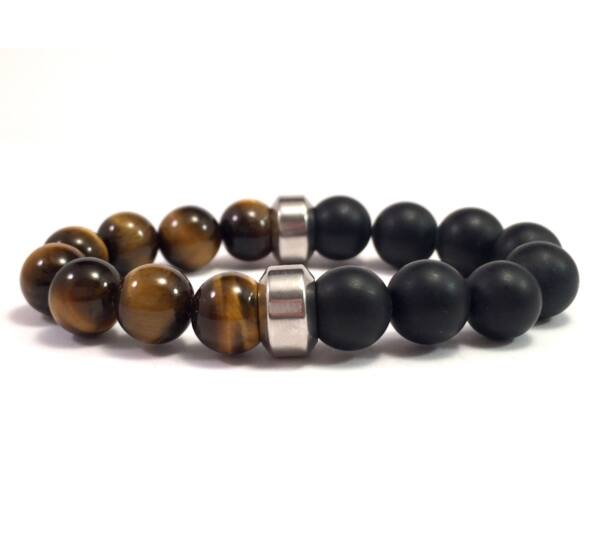 Tiger's eye and matte onyx 10mm bracelet