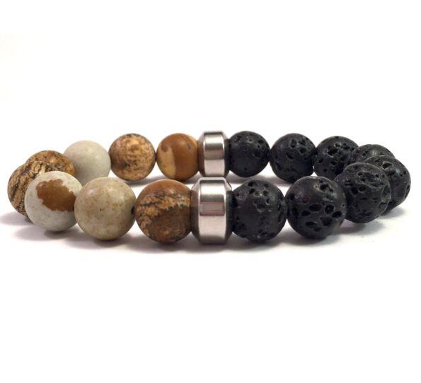 Jasper and lava 10mm bracelet