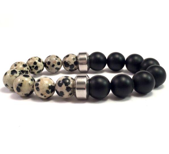 Dalmatians and matte onyx 10mm bracelet
