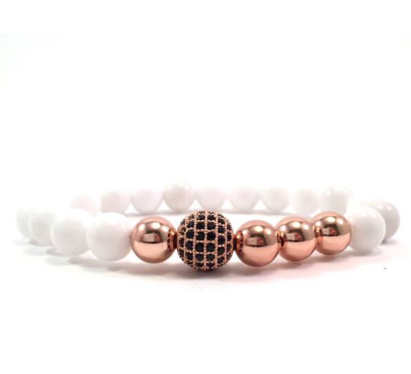 Milk quartz rosegold pearl and zircon ball beaded bracelet