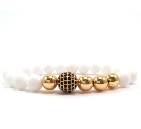 Milk quartz gold pearl and zircon ball beaded bracelet