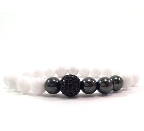 Milk quartz hematite pearl and zircon ball beaded bracelet