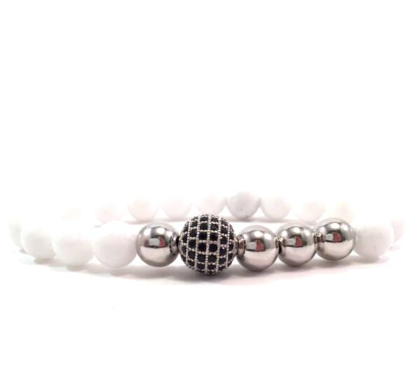 Milk quartz silver pearl and zircon ball beaded bracelet