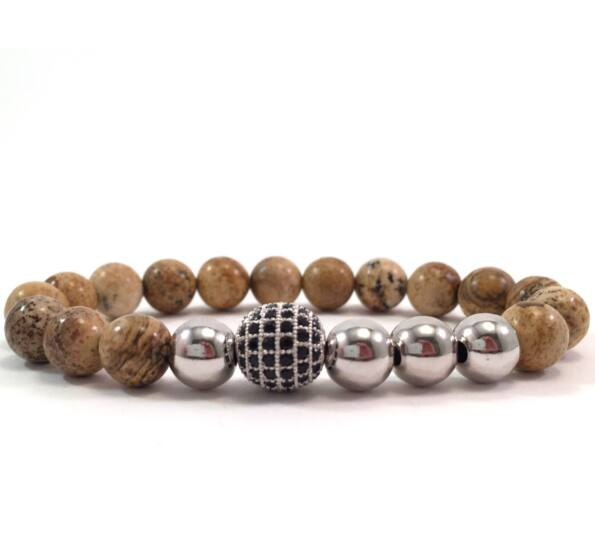 Jasper silver pearl and zircon ball beaded bracelet