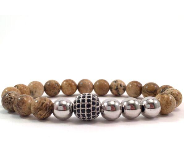 Jasper silver pearl and zircon ball beaded bracelet