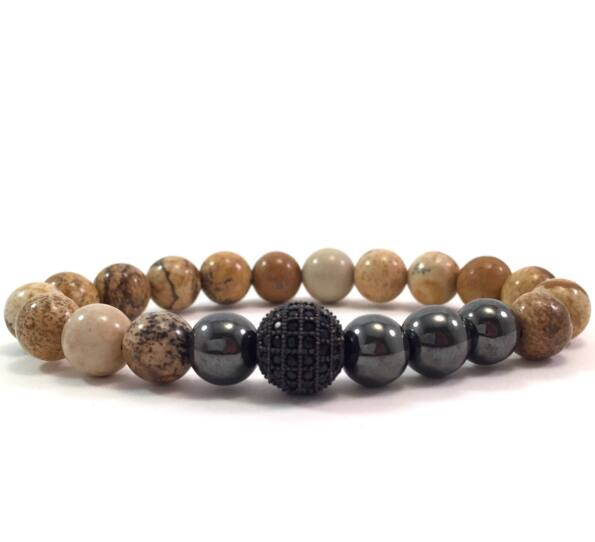 Jasper hematite pearl and zircon ball beaded bracelet