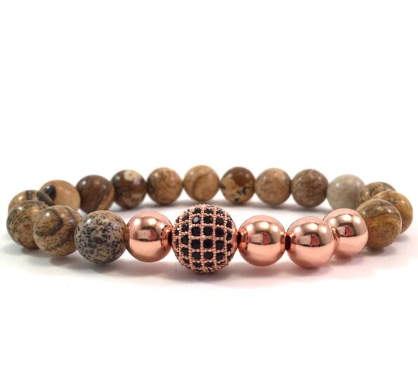 Jasper rosegold pearl and zircon ball beaded bracelet