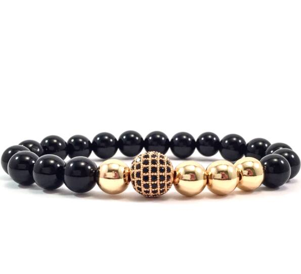 Onyx gold pearl and zircon ball beaded bracelet