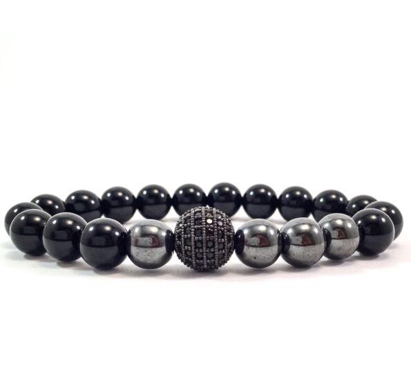 Onyx hematite pearl and zircon ball beaded bracelet