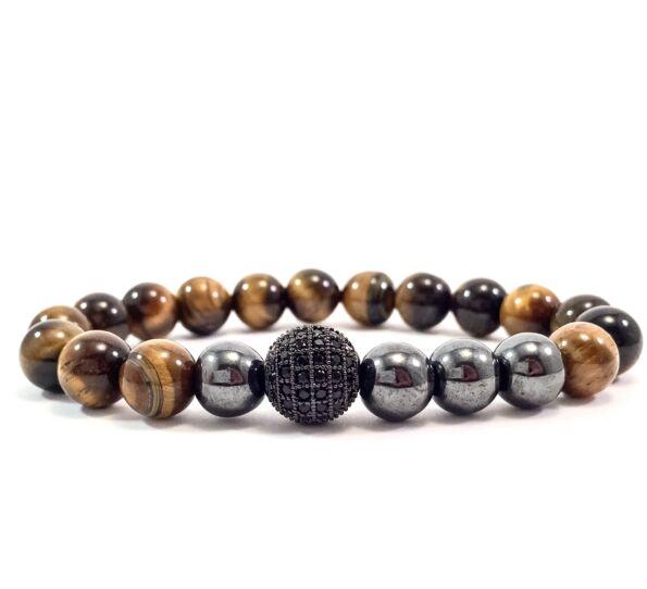 Tiger eye's hematite pearl and zircon ball beaded bracelet