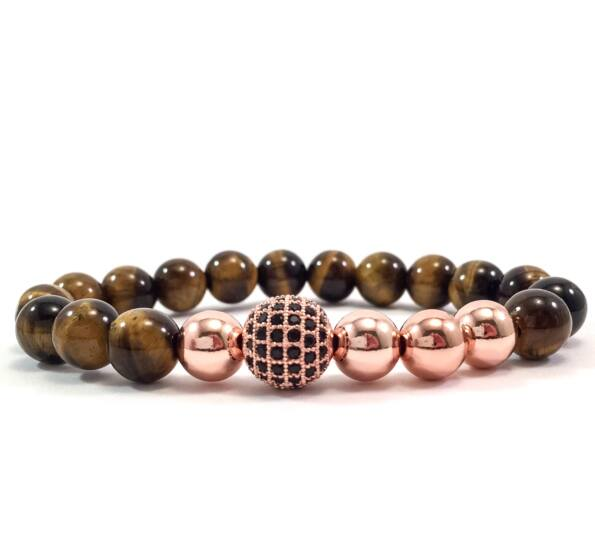 Tiger eye's rosegold pearl and zircon ball beaded bracelet