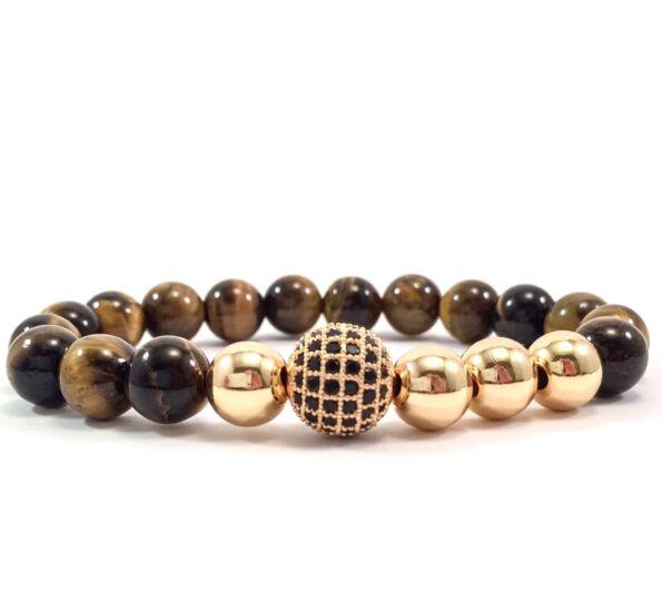 Tiger eye's gold pearl and zircon ball beaded bracelet
