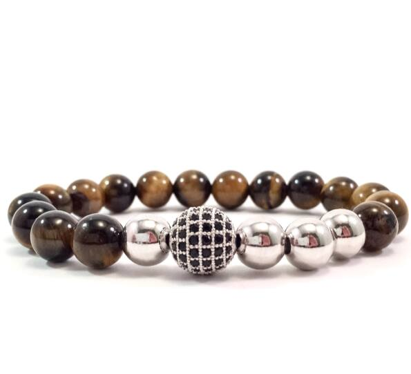 Tiger's eye ezüst pearl and zircon ball beaded bracelet