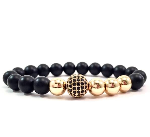 Matte onyx gold pearl and zircon ball beaded bracelet