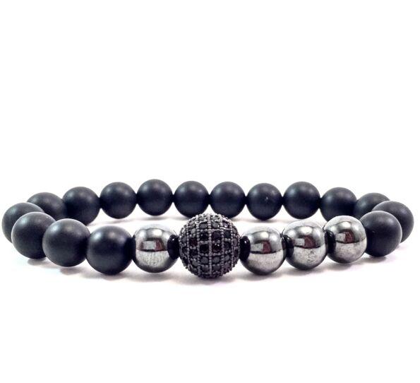 Matte onyx hematite pearl and zircon ball beaded bracelet