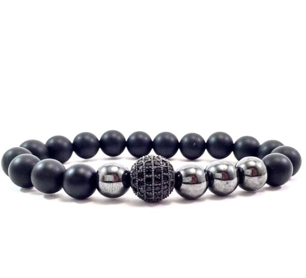 Matte onyx hematite pearl and zircon ball beaded bracelet