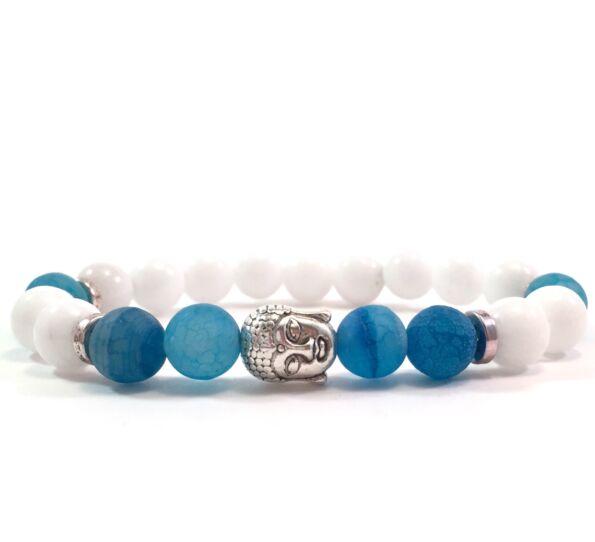 Tejkvarc és kék achát ezüst buddha karkötő