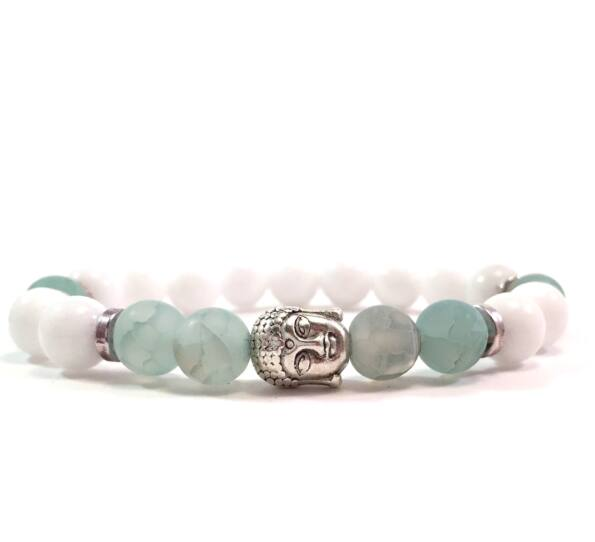 Milk quarcz and green silver buddha bracelet