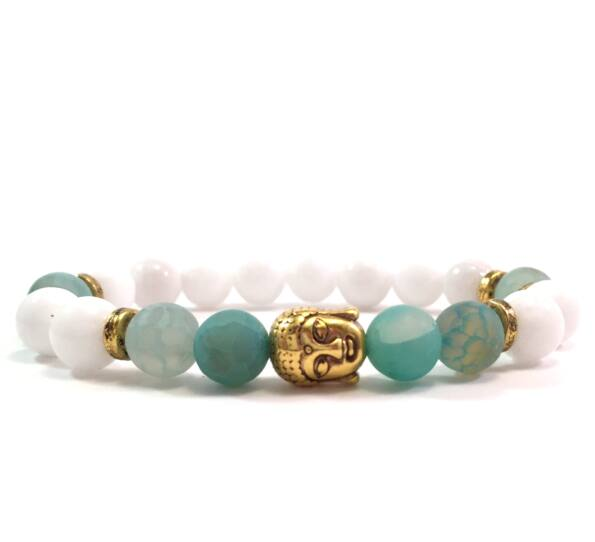 Milk quarcz and green silver buddha bracelet