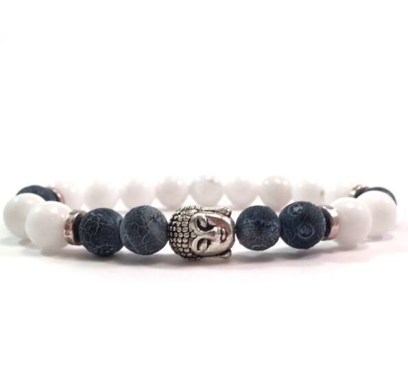 Milk quartz and gray agate silver buddha bracelet