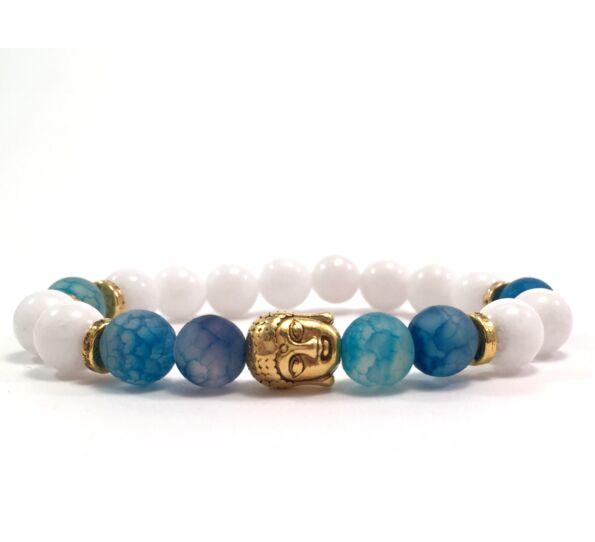 Milk quarcz and blue agate gold buddha bracelet
