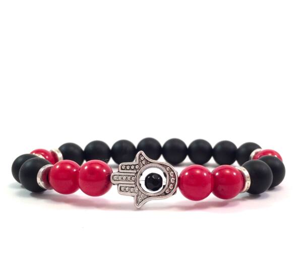 Matte onyx and corall silver hamsa bracelet