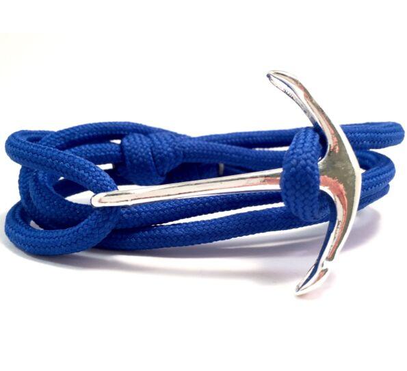 Paracord ezüst horgonyos karkötő kék