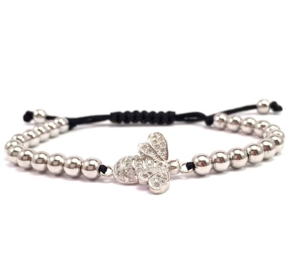Luxury silver bee cord bracelet