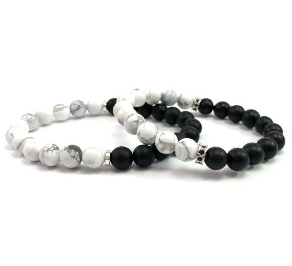 Even matt onyx and howlite half  bracelet
