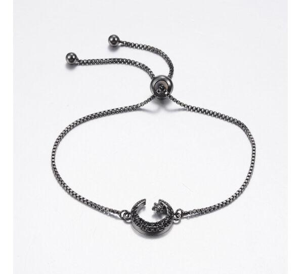 Fekete félhold medálos acél karkötő