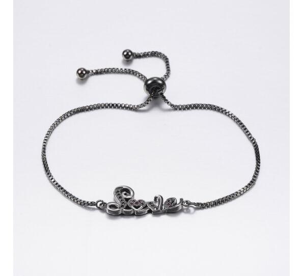 Fekete LOVE feliratú acél karkötő