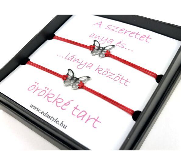 Anya - Lánya ezüst pillangós piros zsineg karkötő