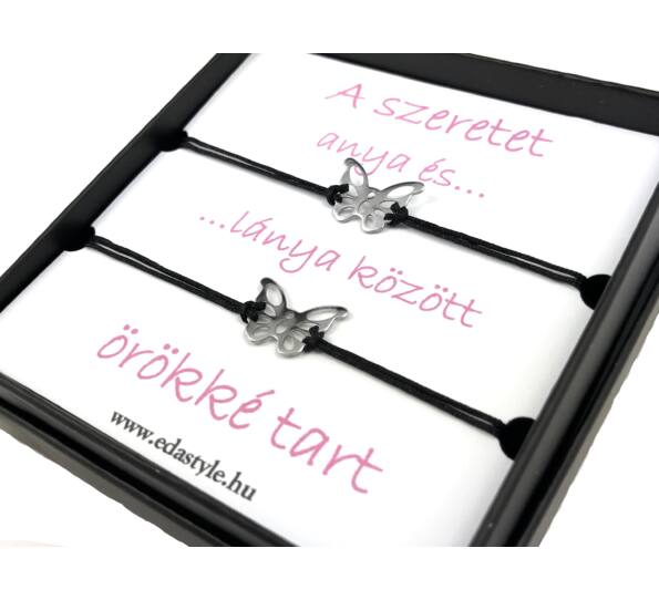 Anya - Lánya ezüst pillangós fekete zsineg karkötő