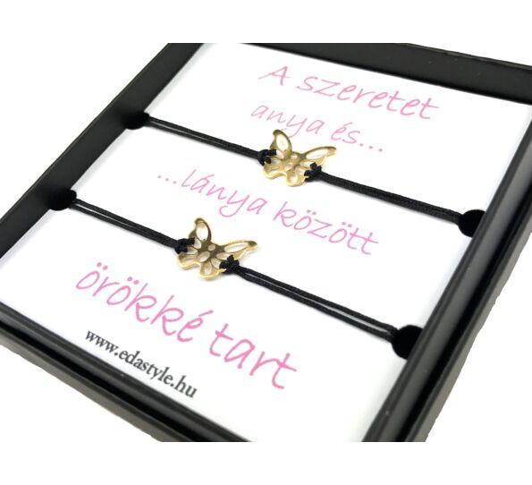 Anya - Lánya arany pillangós fekete zsineg karkötő