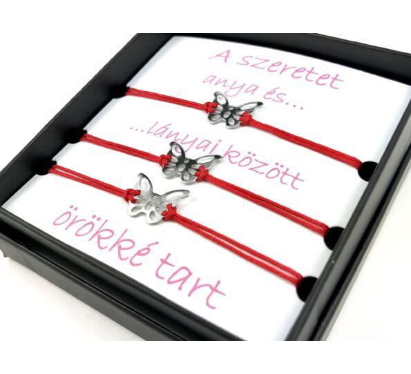 Anya - Lánya ezüst pillangós piros zsineg karkötő ( 3 darabos )