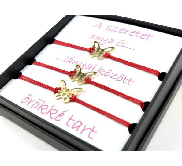 Anya - Lánya arany pillangós piros zsineg karkötő ( 3 darabos )