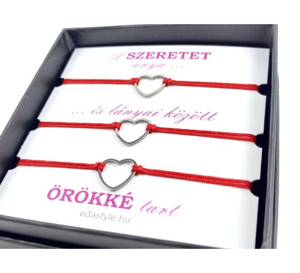 Anya - Lánya ezüst szíves piros zsineg karkötő ( 3 darabos )