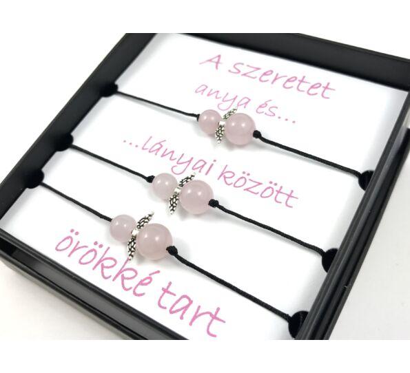 Anya - Lányai rózsakvarc angyalkás karkötő  ( 3 darabos )