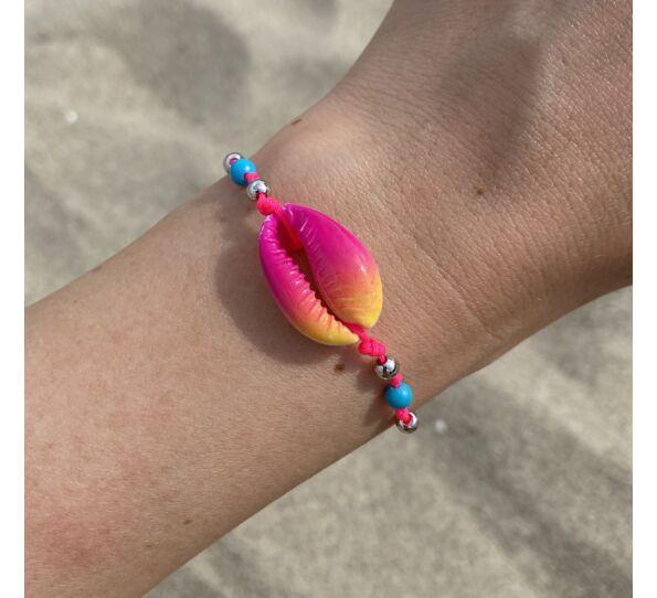 Színátmenetes kagyló pink zsineg karkötő ( pink-narancs )
