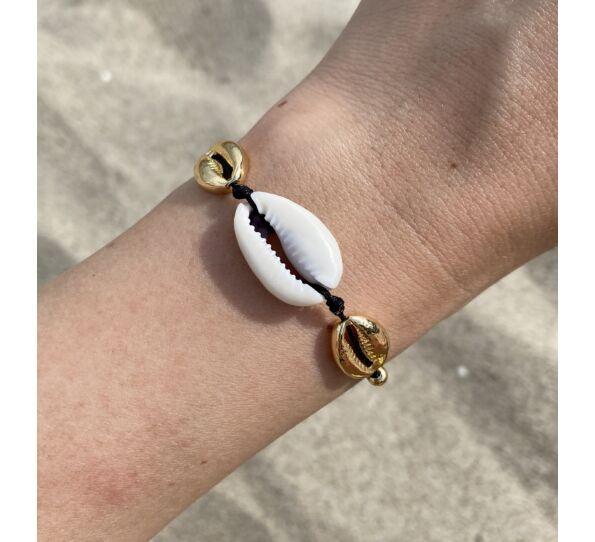 Arany és fehér kagyló fekete zsineg karkötő