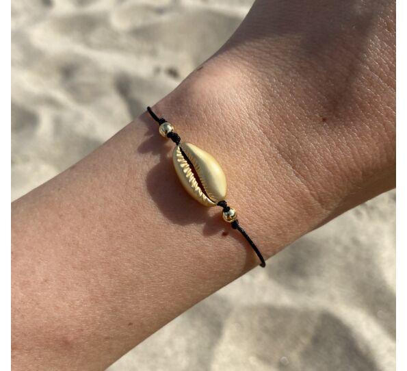 Matte gold shell string bracelet