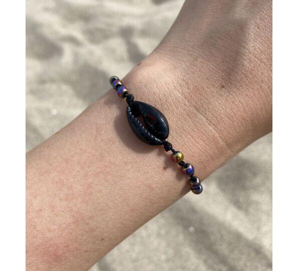 Fekete kagyló fekete zsineg karkötő hematit gyöngyökkel